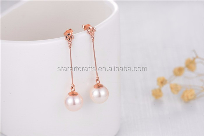 latest design pearl earring 925 sterling silver 8MM natural freshwater fresh water pearl earring price