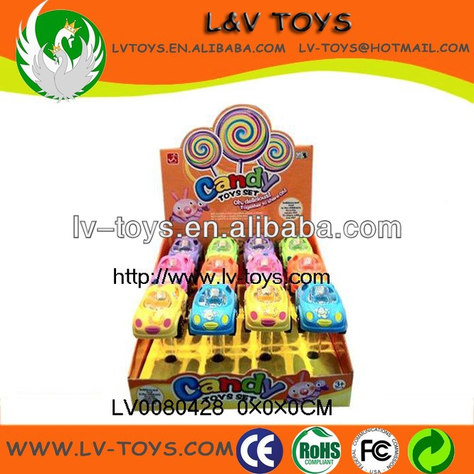 Most pupular promotion candy machine toy pull back car toy candy toy with EN71