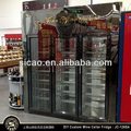 3 Doors Stainless Steel upright glass display refrigerator Wine Commercial Display Cabinet with Temperature Humidity Control
