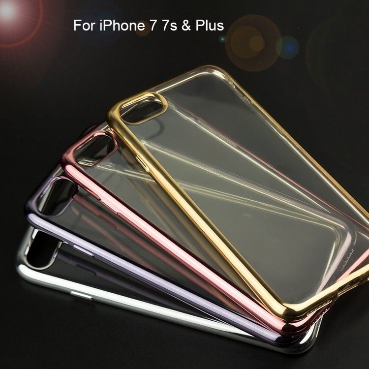 China Factory Wholesale Shockproof Soft Transparent Electroplating TPU Mobile Phone Case For iPhone 7 Plus 5.5 inch