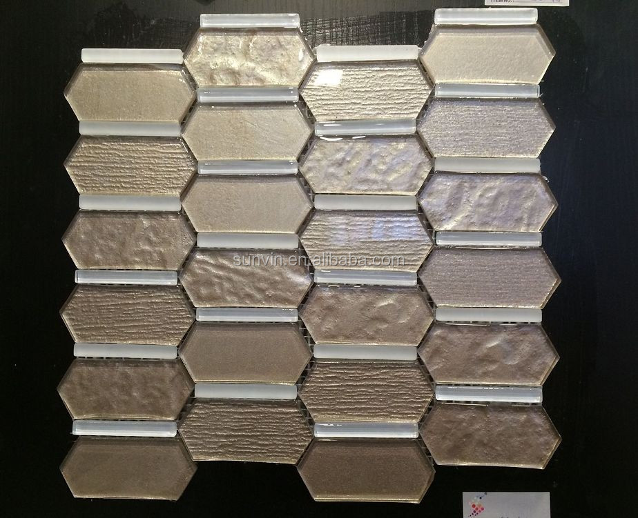 2015 new design wall decortaive material hexagon shape glass mosaic tile
