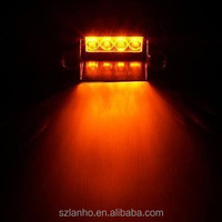 4 LED EMERGENCY WINDSHIELD SUCKER WARNING STROBE FLASH LIGHT FOR CAR YELLOW 12V
