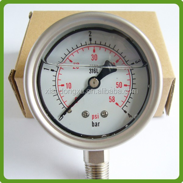 silicone filled ss pressure gauge bourdon tube type