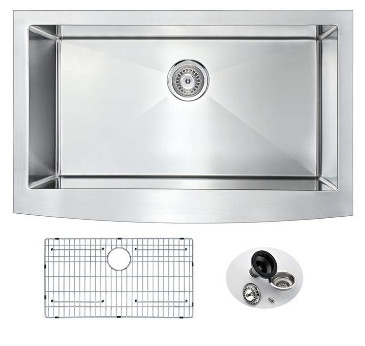 Modern Kitchen Cabinet Wash Hand Basin Stainless Steel Handmade Kitchen Sink Single Bowl Apron Sink AP3320S