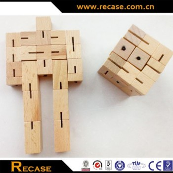 Robot Cube Puzzle Wooden / Wood Toy