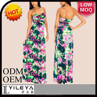 latest fashionable sexy wrappless floral summer ladies arabic maxi dress
