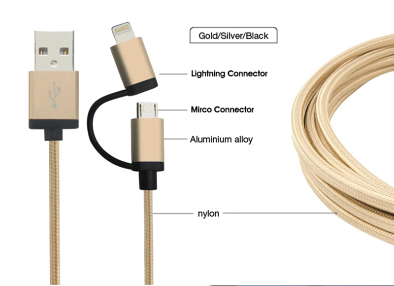 MFi micro and 8pin connector 2 in 1 usb cable for iPhone Cable Charge Cable 2.4A Output