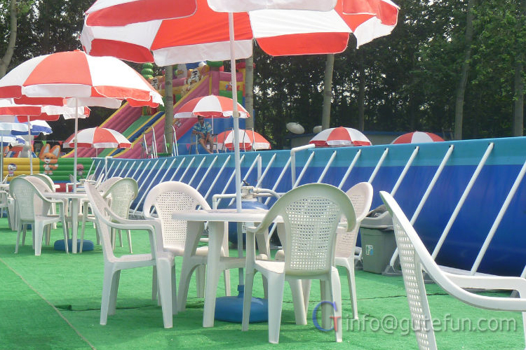 Outdoor rectangular above ground portable swimming pool - Above ground swimming pool rental ...