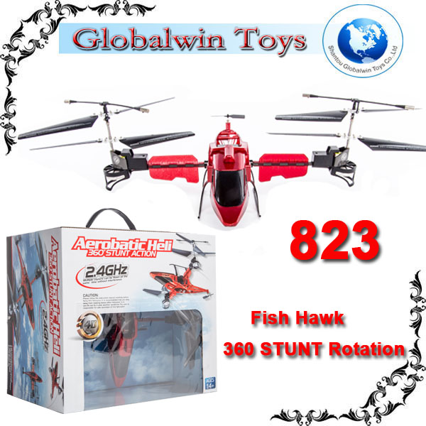 2014 Stunt Fun ! rc Fish Hawk 360 Degree rotation Gyro 2.4G R/C Flying red / super alloy helicopter #6691 rc animal flying toy