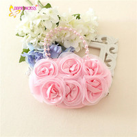 little girls bags cheap price children handbags satin kids mini handbag with satin rose design