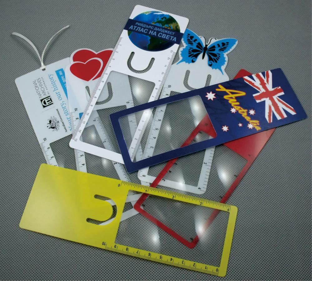Multi-function pvc plastic name card bookmark magnifier lens
