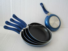 Aluminum fry pan set with painted silicon coated