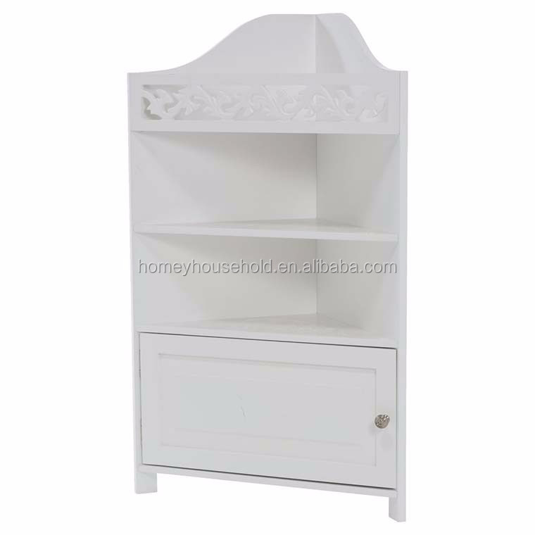 Cheap white furniture wooden multi-function bathroom corner cabinet