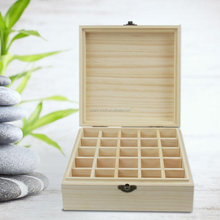 Wood Essential Oils Box, Essential Oil Wooden Storage Case 100% Natural Pine Wood Holds 5/10/15 ml 25 Bottles Carrying Organizer