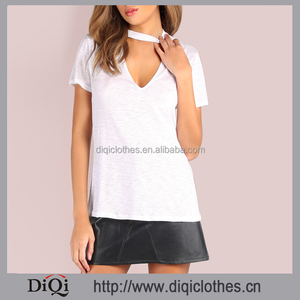 New arrival europe style wholesale girls fashion sexy Casual White Deep V neck Short Sleeve t shirt