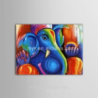 Elephant hand paint canvas piture personate elephant sit on sofa Abstract animal oil painting