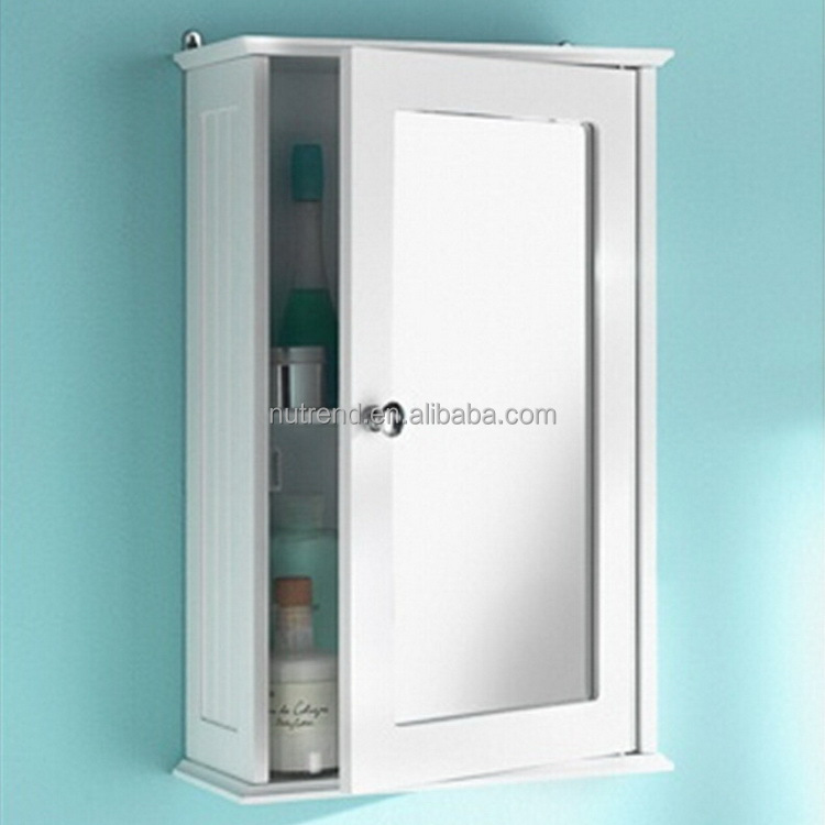 Wood cheap small wall mounted bathroom cabinet with mirror door