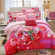 Cotton reactive printed floral european style bedding set