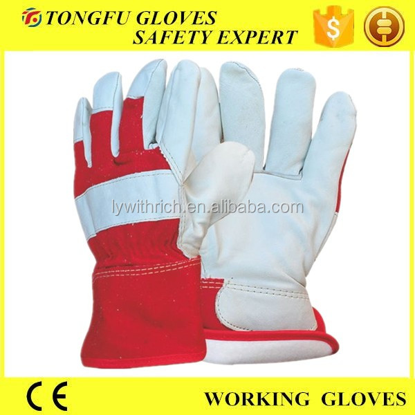 Custom made half lining full palm thinsulate lining working leather gloves