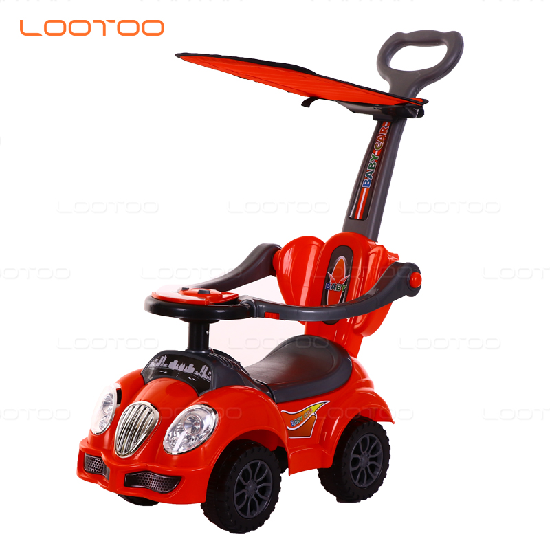 Children toy stroller walker pushing bar kids ride on car 3 in 1 deluxe mega car with horn music