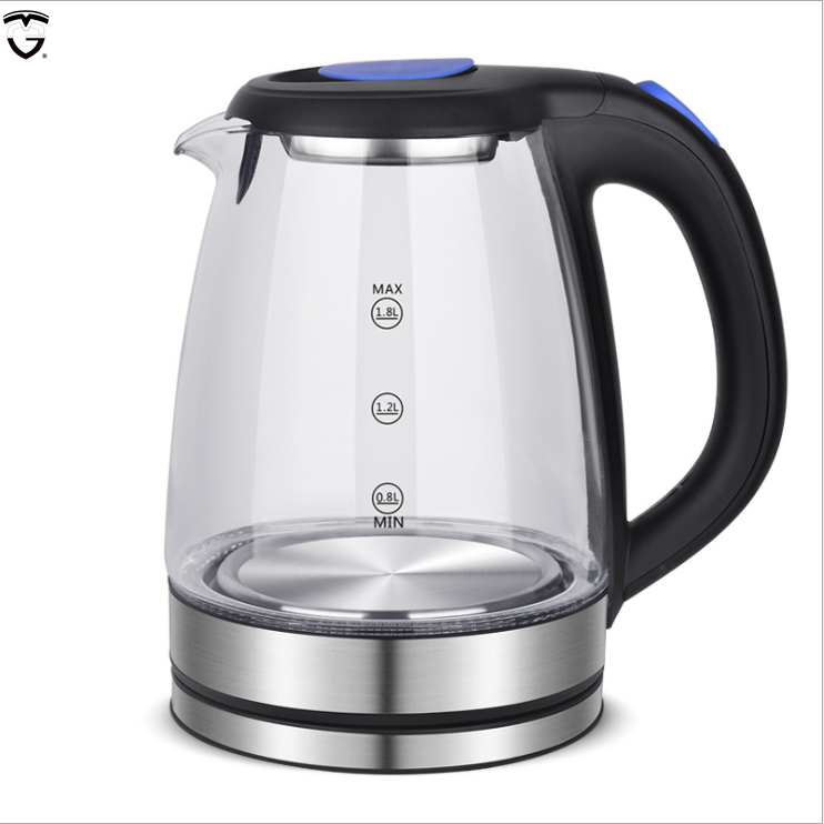 automatic multi function thick teapot black Electric LED Indicator Glass Cordless Water Boiler 1.8L(62 OZ) tea Kettle