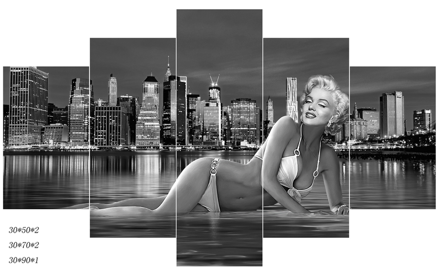 Black and White Photo Bikini Beautiful Sexy Women Print Painting