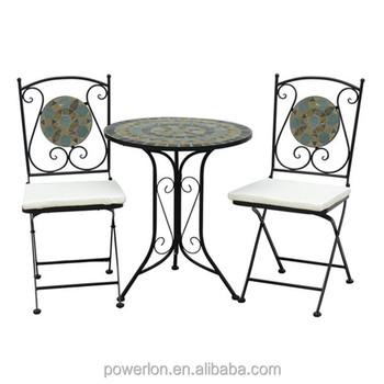 Powerlon Mosaic Stone Bistro Set Foldable Chairs And Kd Table Outdoor Furniture