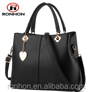 Lady PU Leather Bag with Golden Metal Ornamental