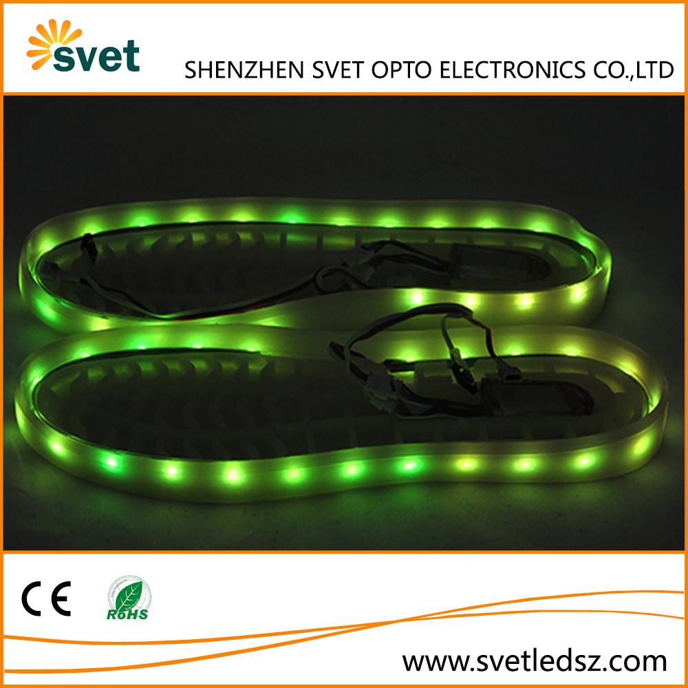 2016 Fashionable 3.7V 3528 RGB Rechargeable Battery Operated Waterproof LED Strip Shoes Light