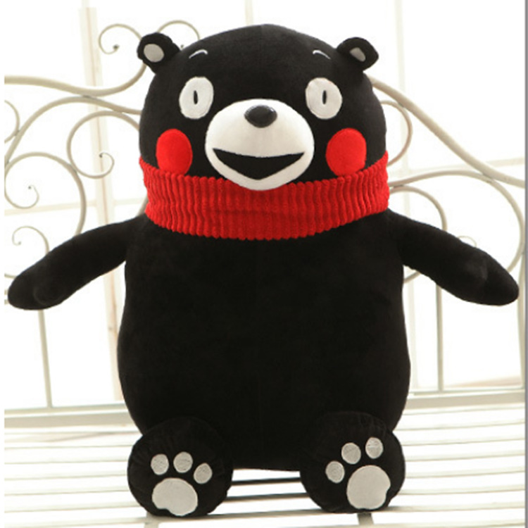 very hot funny black soft cute smiling bear with red scarf stuffed animals