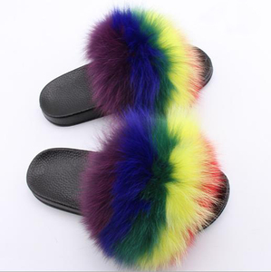 Multicolor Ladies new design fashion fox fur slippers with logo customized