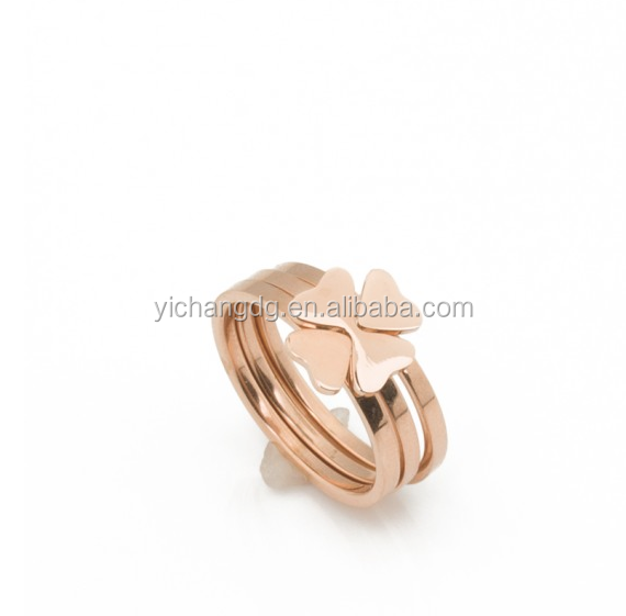 2018 Personalised Rose Gold Ring Clover Ring, Four Leaf Clover Ring In Rose Gold, High Quality Young Girl Jewelry