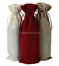 Best selling recyclable custom canvas cotton drawstring wine bottle bags