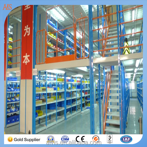 Warehouse storage shelving Q235B Metal steel Upright & Platform Combination Mezzanine Rack