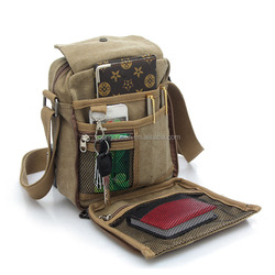 ZW205 Vintage Mens Small Canvas Messenger Bag Shoulder Working Bag
