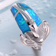wholesale jewelry sea series fish sahpe ring blue opal jewelry