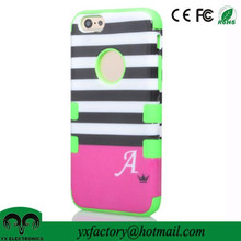 cheap factory 3 in 1 stripe pc silicone make design your own cell phone case manufacturer