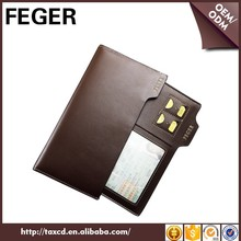 FEGER durable man leather wallet long type genuine leather wallet with zip coin pocket