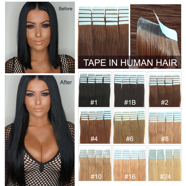 Cheap remy human hair extension full cuticle 16inch-24inch with all colors sticker hair tape in extensions