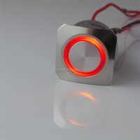 automotive stainless steel anti-vandal waterproof square bezel push button momentary 24v 12v red led illuminated switch ip67
