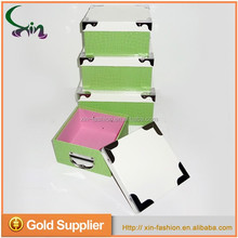 Handmade rectangle printing cardboard suitcase favor paper boxes with metal handle