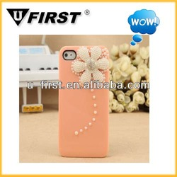 2013 New Arrival hard diamond Daisy Lovely case for iphone4/4s Pearl Case