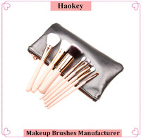7 pcs Size pu bag brushes nose angled makeup brush set
