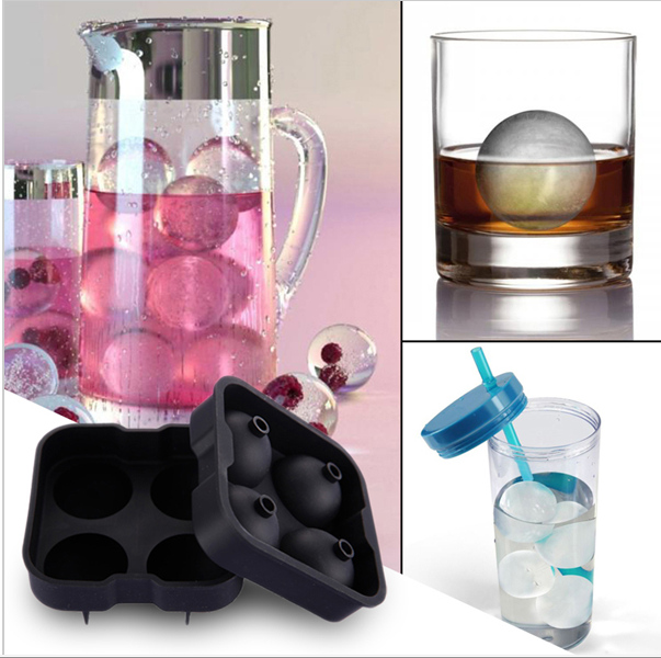 "Sphere Ice Cube Ball Maker 4 x 2"" inch Balls Drink Silicone Round Shape Tray"