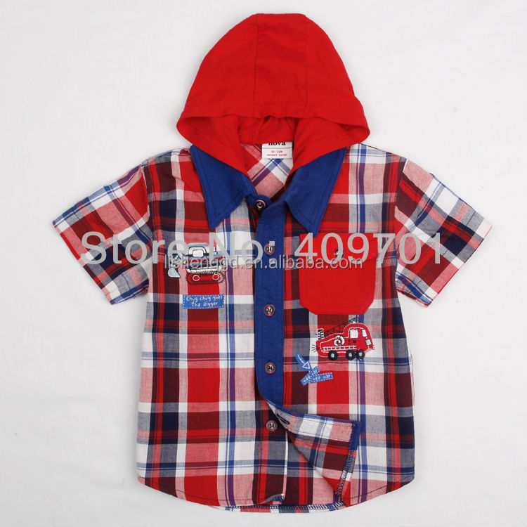 (C2830) 2-6Y Hooded check shirts for boys ready made garments