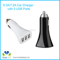 High quality ABS + PC material 5V 7.2A quick charge 3 ports usb car charger