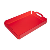 Modern Color Acrylic Serving Tray Lucite Plastic Drink Tray with Handles