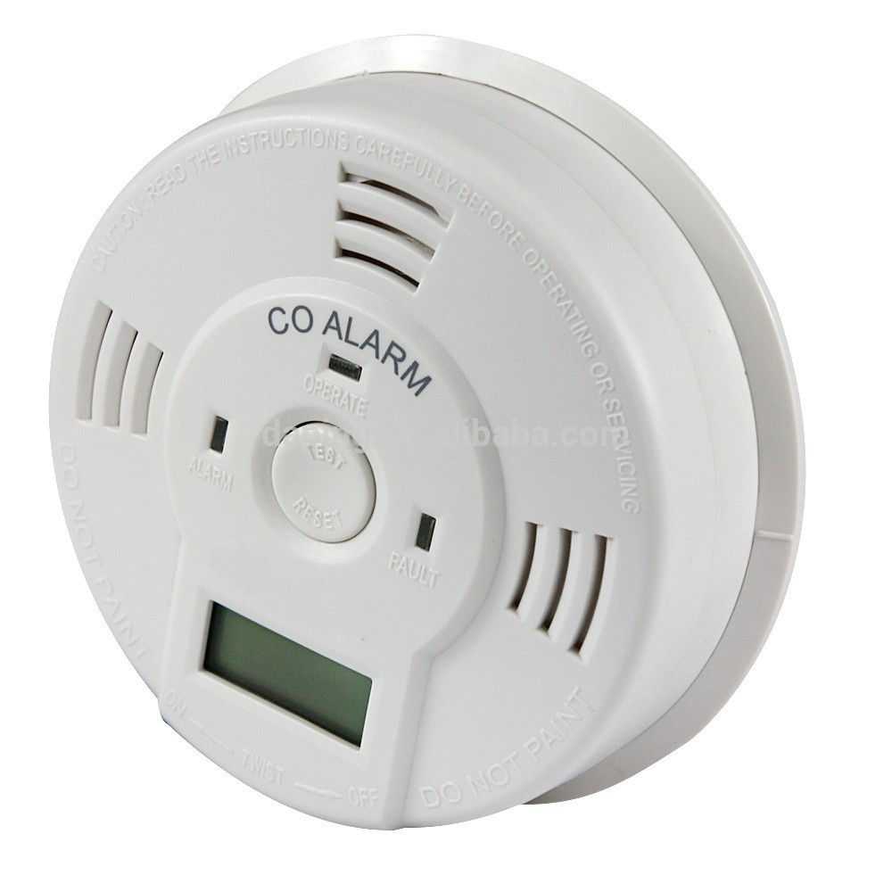 lcd display carbon monoxide detector with battery co alarm