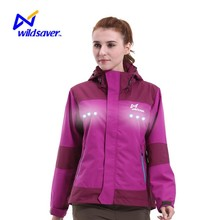 Wildsaver Women pink color LED outdoor windbreaker jacket