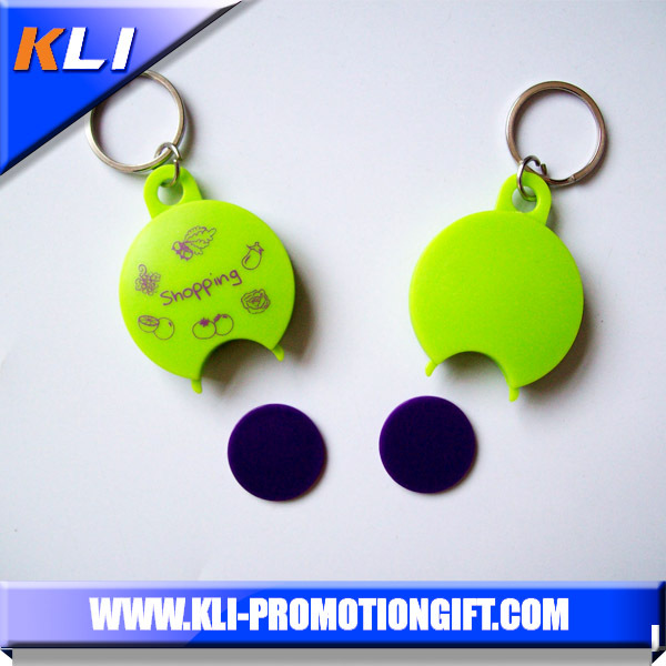 Wholesale promotional supermarket gift plastic trolley coin keychain